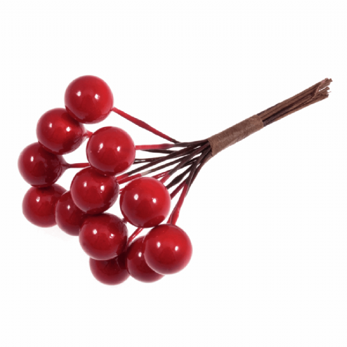 Berries Small 10mm  Bunches of 12 Stems Red